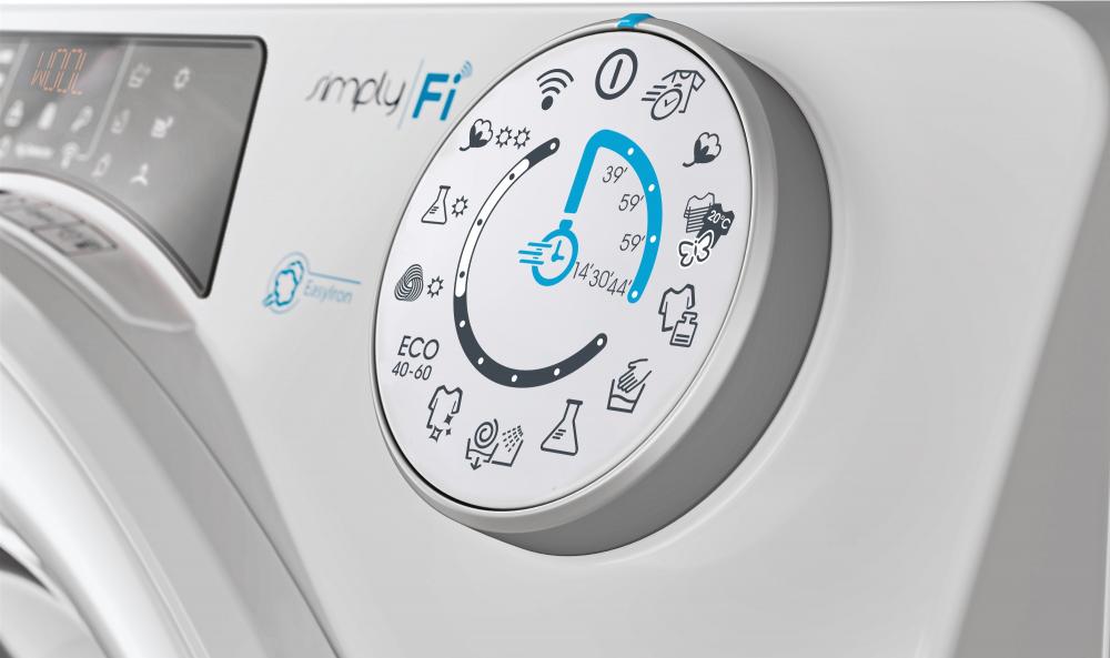 Прально-сушильна машина повнорозмірна Candy ROW 4964DWME / 1-S з фронтальним завантаженням; з інверторним двигуном, Технологія SMART TOUCH; Гігієна +; зрозуміла і зручна панель управління