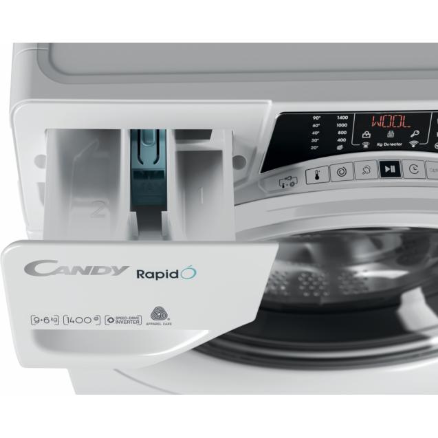 Прально-сушильна машина повнорозмірна Candy ROW 4964DWME / 1-S з фронтальним завантаженням; з інверторним двигуном, Технологія SMART TOUCH; Гігієна +; зручний контейнер для миючих засобів