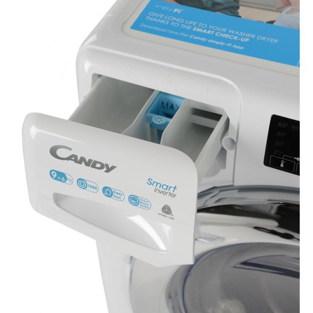 Прально-сушильна машина повнорозмірна Candy CSWS596TWMCE / 1-S з фронтальним завантаженням; з інверторним двигуном, Технологія SMART TOUCH; MIX POWER SYSTEM +; зручний контейнер для миючих засобів