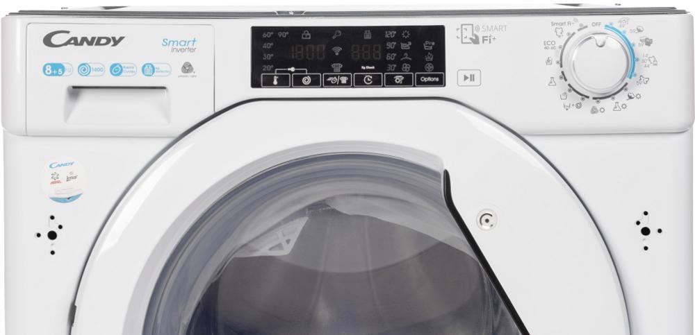 Вбудована прально-сушильна машина повнорозмірна Candy CBDO485TWME / 1-S з фронтальним завантаженням; з інверторним двигуном; зрозуміла і зручна панель управління