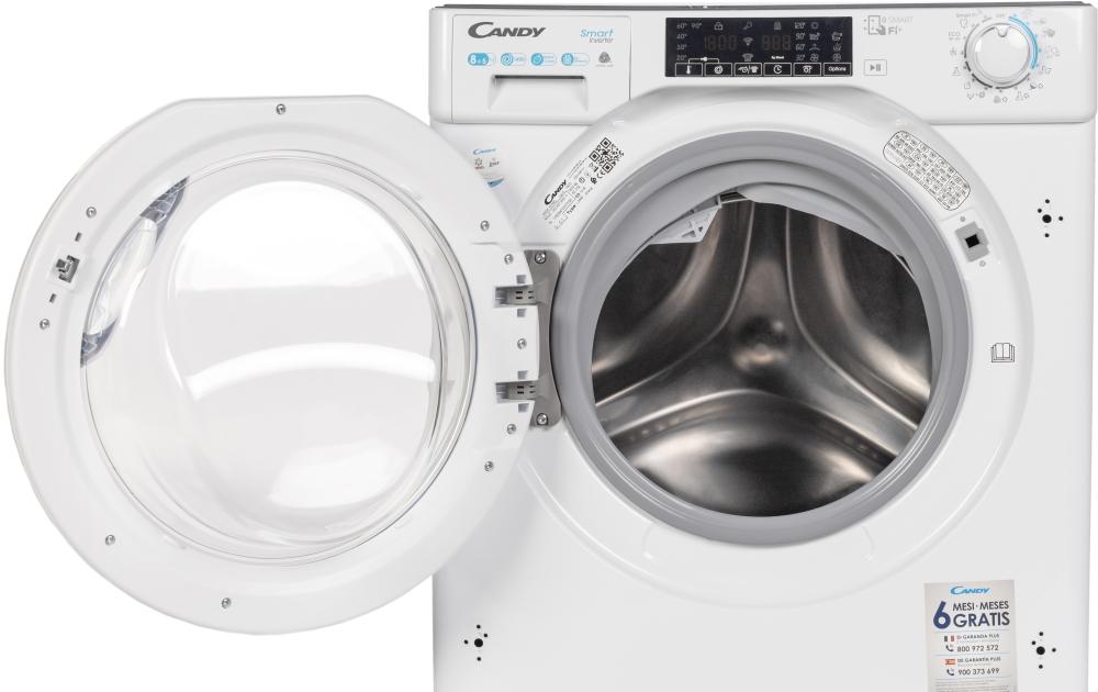 Вбудована прально-сушильна машина повнорозмірна Candy CBDO485TWME / 1-S з фронтальним завантаженням; з інверторним двигуном; Технологія SMART TOUCH; Великий і зручний завантажувальний люк