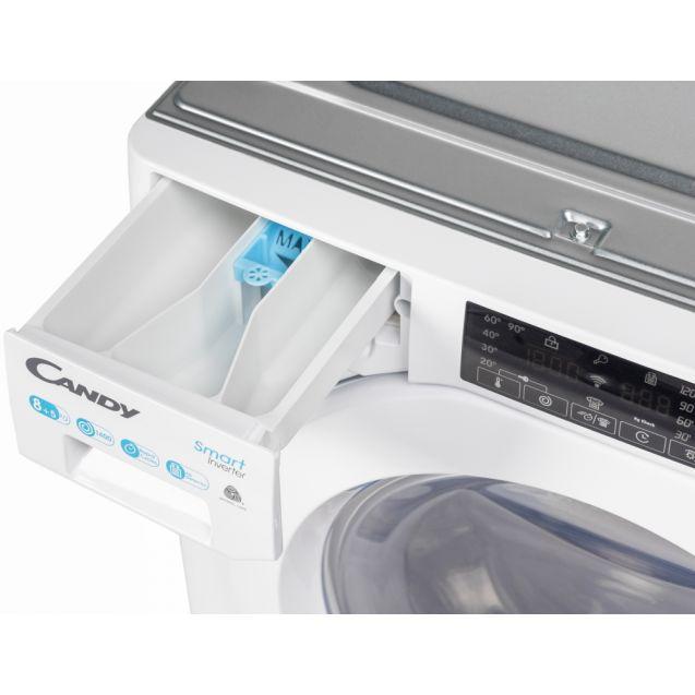 Вбудована прально-сушильна машина повнорозмірна Candy CBDO485TWME / 1-S з фронтальним завантаженням; з інверторним двигуном; Технологія SMART TOUCH; зручний контейнер для миючих засобів
