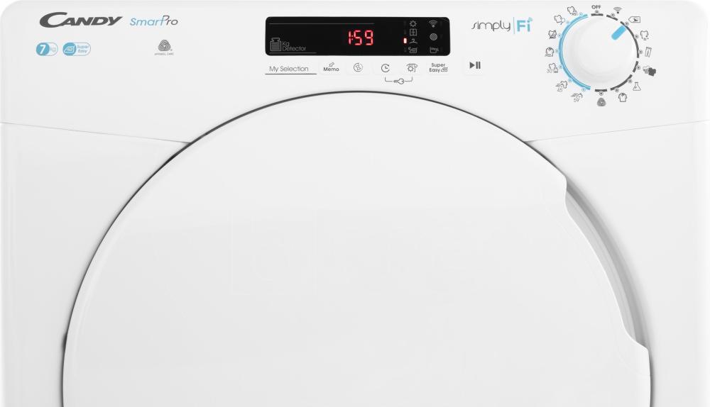 Сушильная машина полноразмерная Candy CSO C7DF-S; Быстрые программы стирки и сушки; Приложение Candy simply-Fi - дополнительный программы; Кг детектор; понятная и удобная панель управления