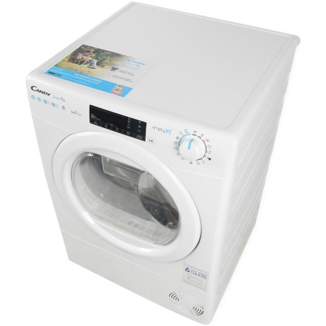 Сушильная машина полноразмерная Candy CSO H8A2TE-S с тепловым насосом; Приложение Candy simply-Fi - дополнительный программы; вид слева ребра жесткости для поглощения значительной части вибраций