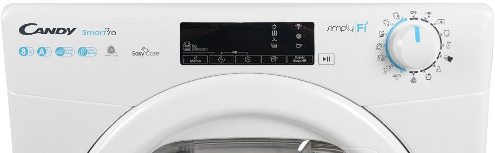 Сушильная машина полноразмерная Candy CSO H8A2TE-S с тепловым насосом; максимальная загрузка - 8 кг; Приложение Candy simply-Fi - дополнительный программы; Понятная и удобная панель управления