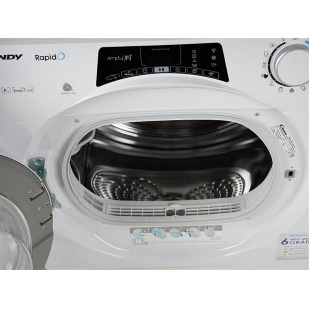 Вузька сушильна машина Candy RO4H7A1TEX-S з тепловим насосом; Додаток Candy simply-Fi - більше 20 додатковий програм; Цикли сушки на будь-який смак; Гармонійно вписується в будь-який стиль інтер'єру