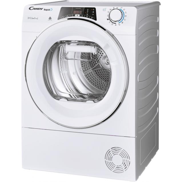 Сушильна машина повнорозмірна Candy ROE H8A2TCEX-S з тепловим насосом; Програми швидкого прання та сушіння; Суперлегка прасування; Ліва частина ребра жорсткості для поглинання значної частини вібрацій
