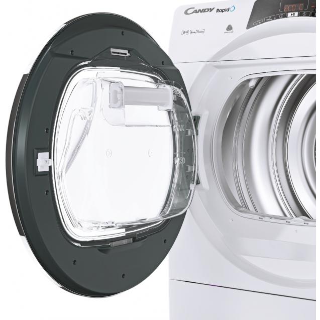 Сушильна машина повнорозмірна Candy ROE H8A2TCEX-S з тепловим насосом; максимальне завантаження-8 кг; Програми швидкого прання та сушіння; Знімна ємність для збору конденсату - технологія EASY CASE