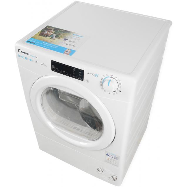 Сушильна машина повнорозмірна Candy CSOE H8A2TE-S з тепловим насосом; Додаток Candy simply-Fi - додатковий програми; Права частина ребра жорсткості для поглинання значної частини вібрацій