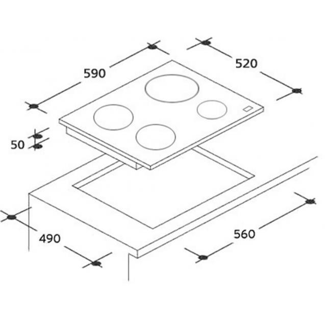 Індукційна варильна поверхня Candy CFID 36 WiFi; Підключення до WiFi; Сенсорне управління; Захист від переливу; Індикатор залишкового тепла; Схема вбудовування з розмірами для варильної панелі