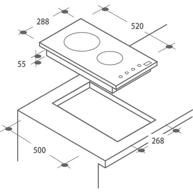 Індукційна варильна поверхня Candy CDI 30; Сенсорне управління; Захист від переливу; Індикатор залишкового тепла; Доміно - дві конфорки; Схема вбудовування з розмірами для варильної панелі