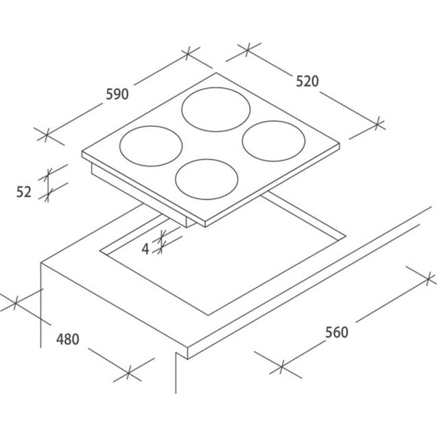 Індукційна варильна поверхня Candy CI640C; склокераміка; Сенсорне управління; Функція Бустер Booster дозволяє збільшити потужність конфорок; Схема вбудовування з розмірами для варильної панелі
