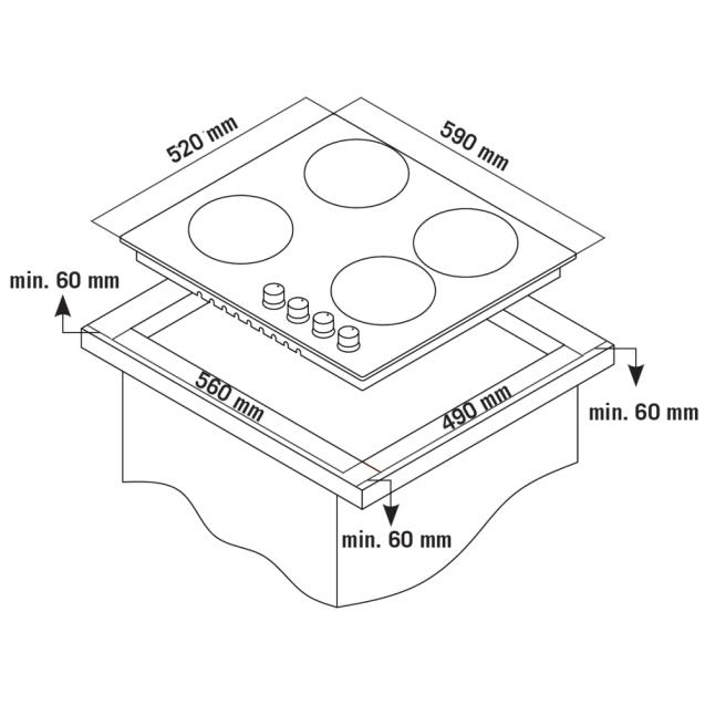 Газова варильна поверхня Candy CSG64SWGX; Стильні та міцні чавунні решітки; Газ-контроль; Матеріал поверхні - нержавіюча сталь; Схема вбудовування з розмірами для варильної панелі