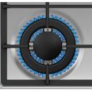 Газова варильна поверхня Candy CSG64SWGX; Стильні та міцні чавунні решітки; Матеріал поверхні - нержавіюча сталь; Просте і зручне управління; Конфорка з подвійним рядом полум'я