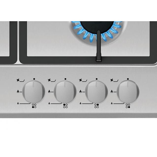 Газова варильна поверхня Candy CSG64SWGX; Стильні та міцні чавунні решітки; Матеріал поверхні - нержавіюча сталь; Конфорка з подвійним рядом полум'я; Просте і зручне управління