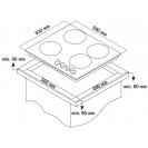 Газова варильна поверхня Candy CSVG64SGB; Просте і зручне управління; Газ-контроль; Матеріал поверхні - загартоване скло; Схема вбудовування з розмірами для варильної панелі