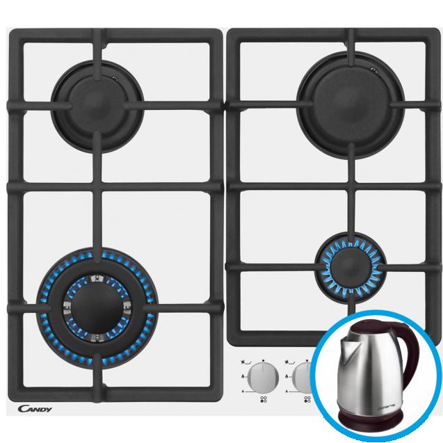 Газовая варочная поверхность Candy CSVG64SGB; Простое и удобное управление;Стильные и прочные чугунные решетки; Газ-контроль; Материал поверхности - закаленное стекло; Конфорка с двойным рядом пламени