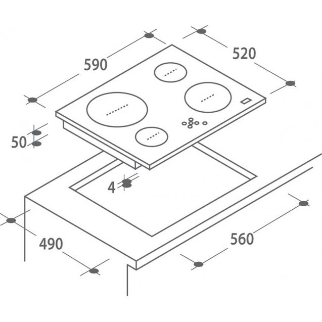 Індукційна варильна поверхня Candy CIC642; склокераміка; Сенсорне управління; Індикатор залишкового тепла; Блокеровка від дітей; Схема вбудовування з розмірами для варильної панелі