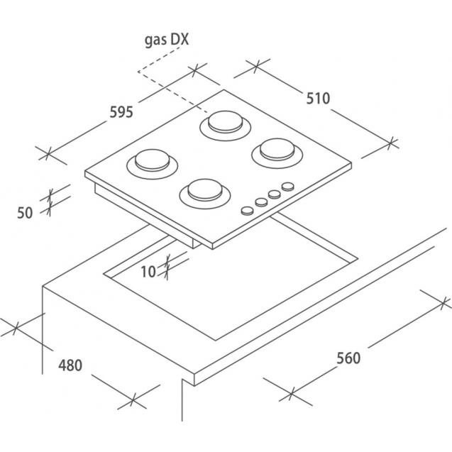 Газова варильна поверхня Candy CVG6B; Просте і зручне управління; Стильні та міцні чавунні решітки; Матеріал поверхні -закаленное скло; Схема вбудовування з розмірами для варильної панелі