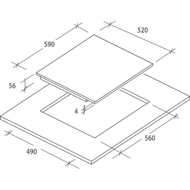 Індукційна варильна поверхня Candy CTP643C / 4U; склокераміка; Сенсорне управління; Індикатор залишкового тепла; Функція Бустер Booster; Схема вбудовування з розмірами для варильної панелі