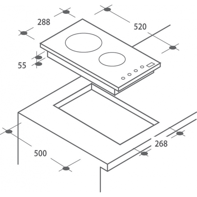 Індукційна варильна поверхня Candy CDIC 30; Сенсорне управління; Захист від переливу; Індикатор залишкового тепла; Доміно - дві конфорки; Схема вбудовування з розмірами для варильної панелі