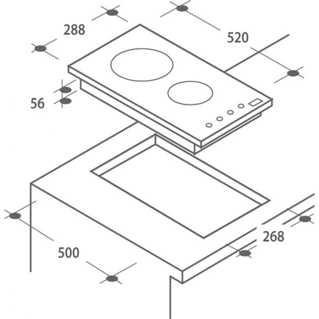 Індукційна варильна поверхня Candy CDI 30 / G3; Сенсорне управління; Захист від переливу; Індикатор залишкового тепла; Доміно - дві конфорки; Схема вбудовування з розмірами для варильної панелі