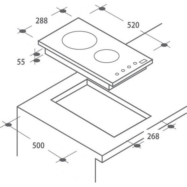 Електрична варильна поверхня Candy CDH30; склокераміка; Сенсорне управління; Індикатор залишкового тепла; Доміно - дві конфорки; Схема вбудовування з розмірами для варильної панелі