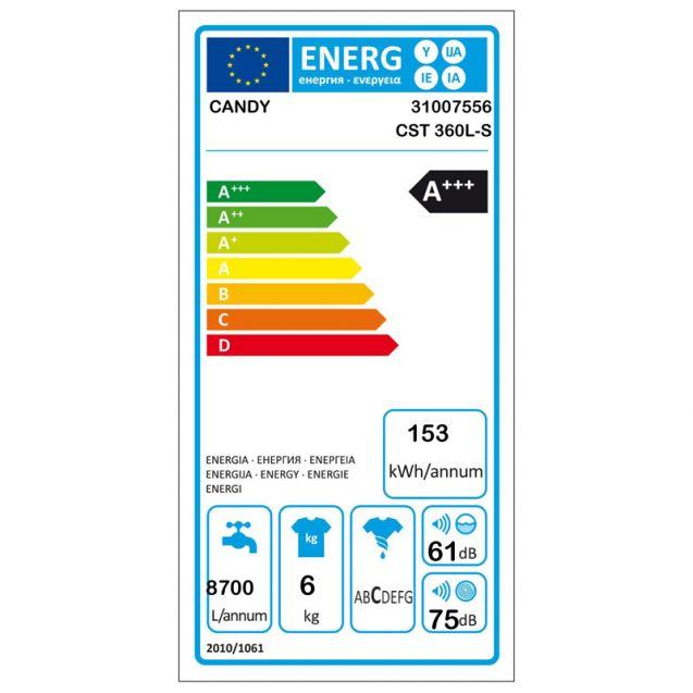 Узкая стиральная машина Candy CST 360L-S с вертикальной загрузкой; технология SMART TOUCH;  максимальная загрузка - 6 кг; фото энергетической этикетки; Класс энергоэффективности - А+++